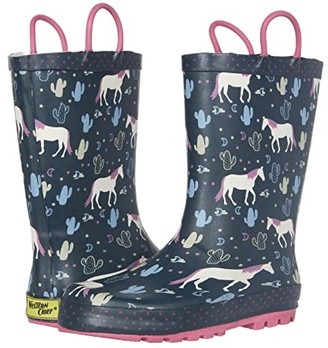Western Chief Playful Pony Rain Boots (Toddler/Little Kid) (Navy) Girl's Shoes
