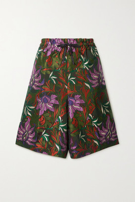 Dries Van Noten Floral-jacquard Shorts - Army green