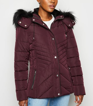 New Look Faux Fur Trim Fitted Puffer Jacket