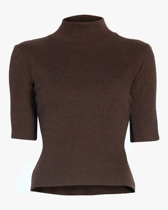 Aaizél Dalia High Neck Ribbed Knit Top