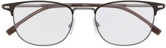 HUGO BOSS Square Metal Frame Eyeglasses