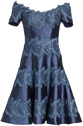 Helen Morley Lace-Accent Fit-&-Flare Cocktail Dress
