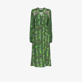 Rotate by Birger Christensen Kira embellished snake print dress