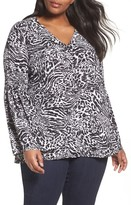 MICHAEL Michael Kors Plus Size Women's Big Cat Print Bell Sleeve Tunic