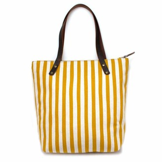 General Knot & Co Gold + Flax Awning Stripe Portfolio Tote