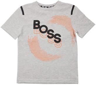 HUGO BOSS Logo Print Cotton Blend Jersey T-Shirt