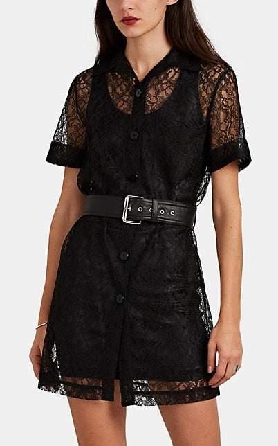 Alexander Wang Women's Belted Floral Lace Shirtdress - Black