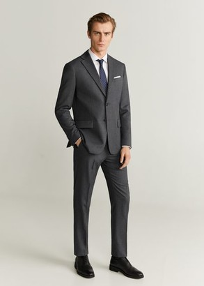 MANGO MAN - Regular fit microstructured suit pants grey - 28 - Men