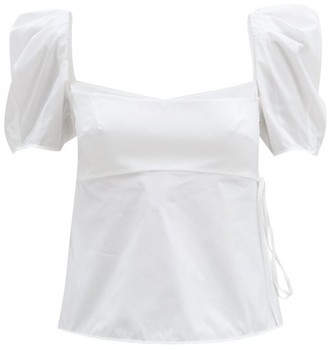 Brock Collection Square-neck Cotton-blend Poplin Blouse - White