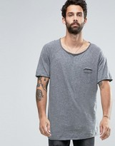 Pull&Bear T-Shirt In Gray With Curved Hem
