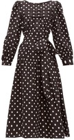 Marc Jacobs Belted Polka-dot Silk-satin Midi Dress - Womens - Black
