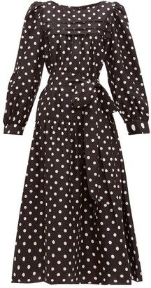 MARC JACOBS, RUNWAY Marc Jacobs Runway - Belted Polka-dot Silk-satin Midi Dress - Black
