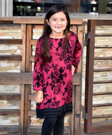 Beary Basics Burgundy Rose Tunic Dress - Infant Toddler & Girls