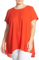 Vince Camuto Plus Size Women's Short Sleeve High/low Hem Blouse