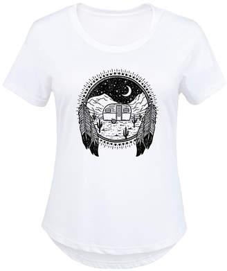 Camper Instant Message Plus Women's Tee Shirts WHITE - White Night Scene Scoop Neck Tee - Plus