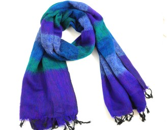 "Cool Trade Winds SUPER SOFT - SOFT AND COSY YAK"" SHAWL THE ORIGINAL OVERSIZED BLANKET SCARF: a luxurious 190cm x 85cm in size - Teal Multi-Colour Stripe"