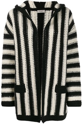 Saint Laurent Open Front Striped Cardigan