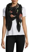 Saint Laurent Floral Wool Scarf