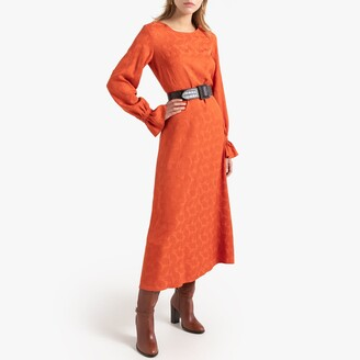 Leaf Embroidered Midi Dress with Ruffled Long Sleeves