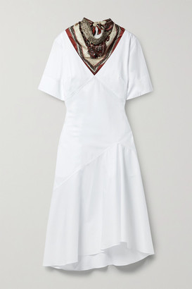 Rosie Assoulin By Any Other Name Paisley-print Silk Twill-trimmed Cotton-poplin Midi Dress - White