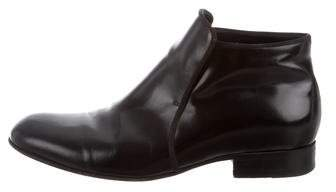 Celine Round-Toe Leather Ankle Boots