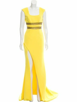 Terani Couture Scoop Neck Long Dress w/ Tags Yellow