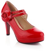 BalaMasa Ladies Low-Cut Uppers High-Heels Imitated Leather Pumps-Shoes