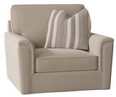 Bauhaus Swivel Armchair Cushion Type: Standard Foam/Fiber, Body Fabric: Alberta Linen, Throw Pillow Fabric: Balmoral Slate
