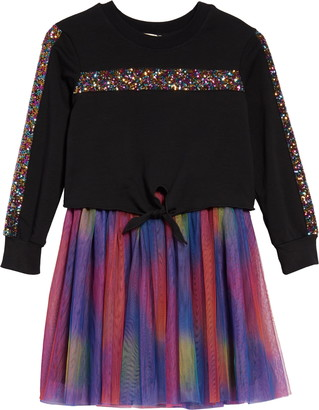 Truly Me Kids' Rainbow Sequins Two-Piece Tutu Dress