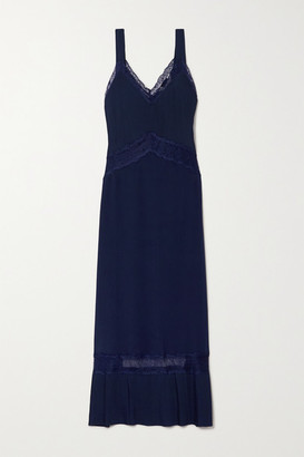 SLEEPING WITH JACQUES The Osiris Lace-trimmed Plisse-silk Crepe De Chine Maxi Dress - Navy