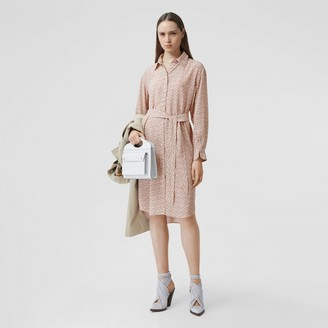 Burberry Monogram Print Silk Crepe De Chine Shirt Dress