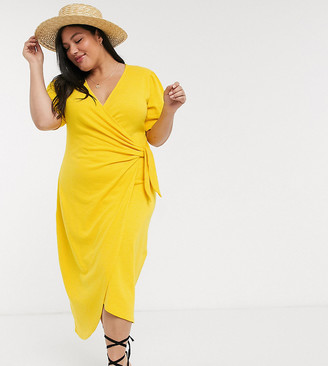 ASOS DESIGN Curve wrap midi sundress with knot front in yellow