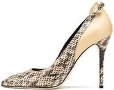 Oscar de la Renta Natural Bow-Detail Elaphe & Leather Gloria Pumps