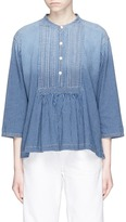 Current/Elliott 'The Pintuck' pleated bib stripe shirt