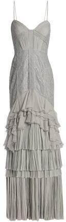 J. Mendel J.Mendel J.mendel Lace-paneled Ruffled Silk Gown