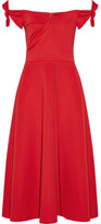 Saloni Ruth Off-the-shoulder Stretch-neoprene Midi Dress - Red