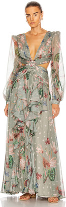 PatBO Sophia Cut-Out Maxi Dress in Moss | FWRD
