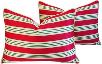 One Kings Lane Vintage French Stripe Ticking Velvet Pillows - Pr