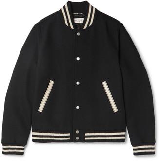 Saint Laurent Teddy Leather-Trimmed Virgin Wool-Blend Bomber Jacket
