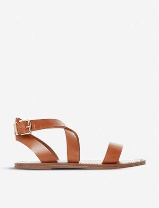 Dune Leelah cross-over strap leather sandals
