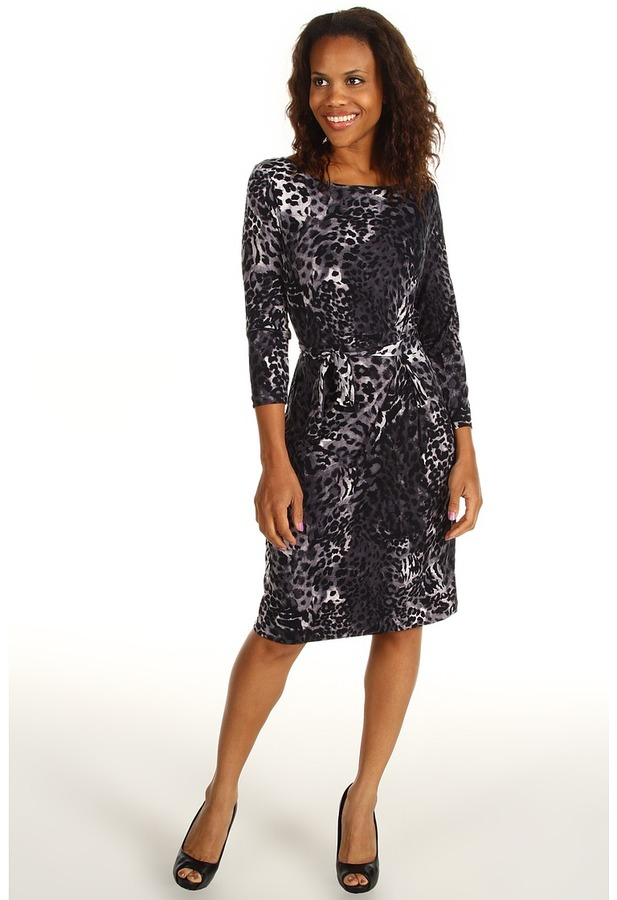 Anne Klein Leopard Print Wrap Dress (Carbon Multi) - Apparel