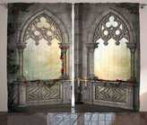 Gothic Decor Curtains by Ambesonne, Vintage Ottoman Palace Balcony for Sultans with Red Rose Flowers Ivy Terrace Image, Living Room Bedroom Window Drapes 2 Panel Set, 108W X 90L Inches, Beige