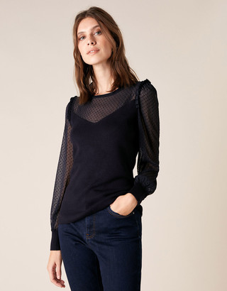 Under Armour Woven Sleeve Jumper with Sustainable Viscose Blue