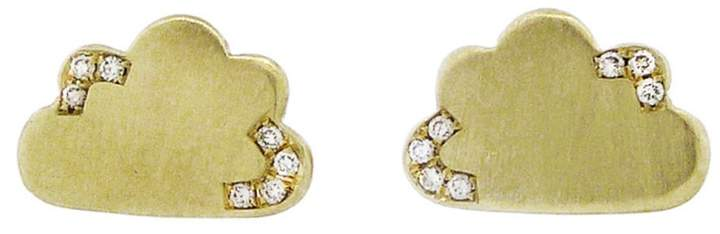 Andrea Fohrman Cloud Stud Earrings with Diamonds - Yellow Gold