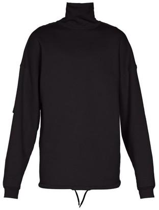 Balenciaga High-neck Panelled-sleeve Sweater - Mens - Black