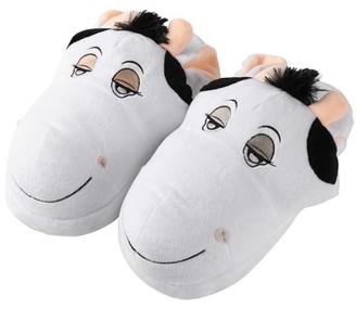 Aerusi Cow Plush Animal Slipper 2 Pair (1 Women's and 1 Kid's) Bundle Pack
