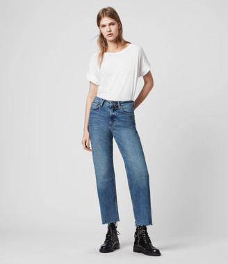 AllSaints Harper Cropped High-Rise Straight Jeans, Mid Indigo Blue