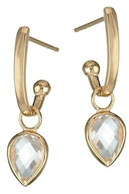 Anzie Classique 14K Yellow Gold White Topaz Pear Charm Earrings