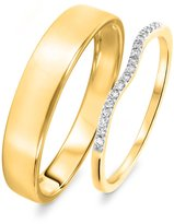 My Trio Rings 1/10 Carat T.W. Round Cut Diamond His and Hers Wedding Band Set 10K Yellow Gold