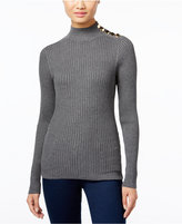 INC International Concepts Mock-Neck Button-Trim Sweater, Only at Macy's